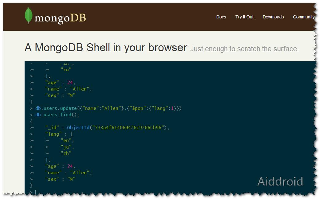 mongo web shell